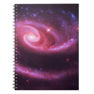 Galaxias color de rosa rosadas libros de apuntes