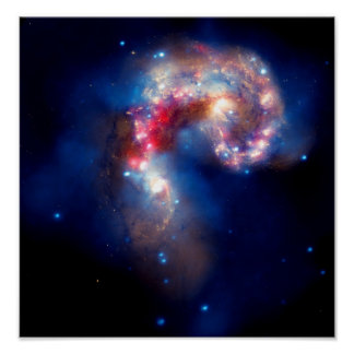 Galaxias de las antenas que chocan póster