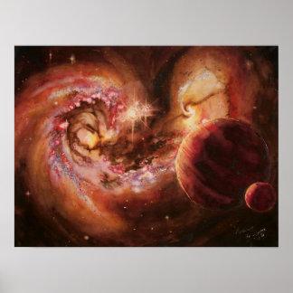 Galaxias del sistema planetario y de las antenas poster