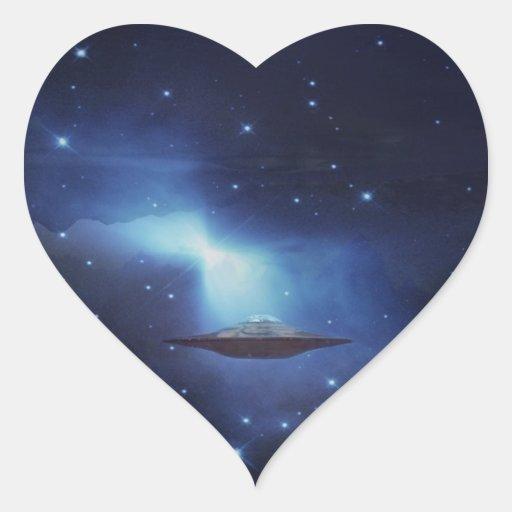 Galaxias del UFO Pegatina En Forma De Corazón
