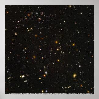 Galaxias, imagen del espacio profundo de galaxias póster