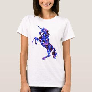 Galaxy blue beautiful unicorn starry sky image T-Shirt
