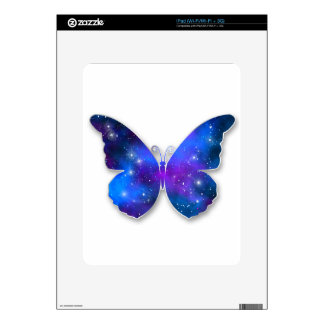 Galaxy butterfly cool dark blue illustration decal for iPad