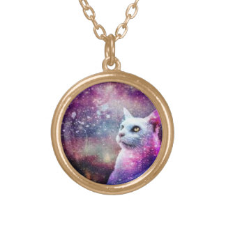 Galaxy cat gold plated necklace