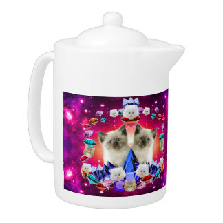 galaxy cat in diamond teapot