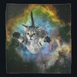 """Galaxy Cat Universe Kitten Launch Bandana<br><div class=""""desc"""">Galaxy Cat Universe Kitten Launch &quot;cosmic cat&quot;, &quot;meme cat&quot;, cat, meme, galaxy, &quot;space cat&quot;, cats, funny, cool, space, cosmos, stars, kittens, cute, planet, grey, eyes, kitty, supernova, universe, rocket, nebula, gray, kitten, stellar, astronaut, launch, &quot;green eyes&quot;, feline, floating, heroic, multicolor, &quot;into space&quot;, &quot;in space&quot;, &quot;cat galaxy&quot;, &quot;cat with green eyes&quot;,...</div>"""