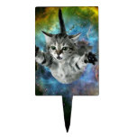 Galaxy Cat Universe Kitten Launch Cake Topper<br><div class='desc'>Galaxy Cat Universe Kitten Launch &quot;cosmic cat&quot;, &quot;meme cat&quot;, cat, meme, galaxy, &quot;space cat&quot;, cats, funny, cool, space, cosmos, stars, kittens, cute, planet, grey, eyes, kitty, supernova, universe, rocket, nebula, gray, kitten, stellar, astronaut, launch, &quot;green eyes&quot;, feline, floating, heroic, multicolor, &quot;into space&quot;, &quot;in space&quot;, &quot;cat galaxy&quot;, &quot;cat with green eyes&quot;,...</div>