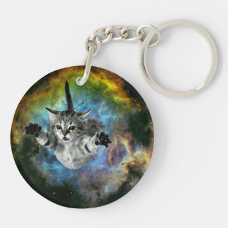 Galaxy Cat Universe Kitten Launch Double-Sided Round Acrylic Keychain