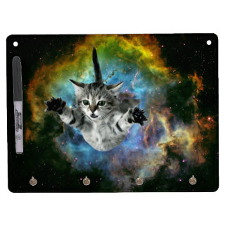 Galaxy Cat Universe Kitten Launch Dry Erase Board With Keychain Holder