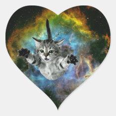 Galaxy Cat Universe Kitten Launch Heart Sticker at Zazzle
