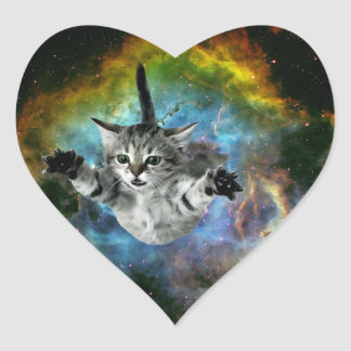 Galaxy Cat Universe Kitten Launch Heart Sticker