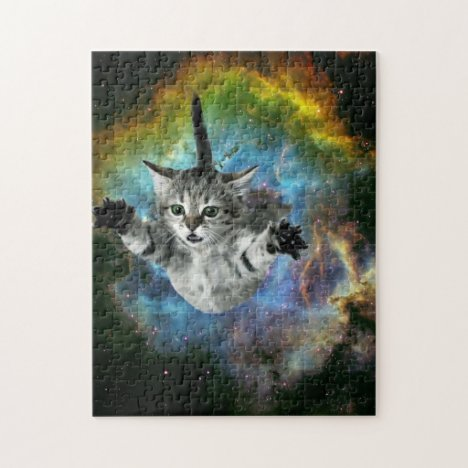 Galaxy Cat Universe Kitten Launch Jigsaw Puzzle