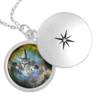 Galaxy Cat Universe Kitten Launch Locket Necklace