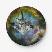 Galaxy Cat Universe Kitten Launch Paper Plate