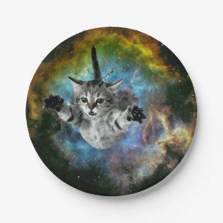 Galaxy Cat Universe Kitten Launch Paper Plate at Zazzle