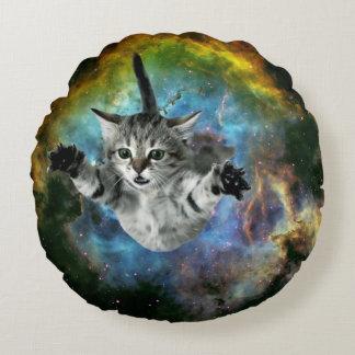 Galaxy Cat Universe Kitten Launch Round Pillow