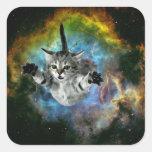Galaxy Cat Universe Kitten Launch Square Sticker