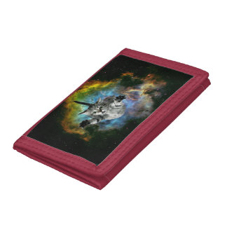 Galaxy Cat Universe Kitten Launch Trifold Wallet