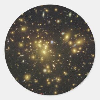 Galaxy Cluster Abell 1689 in Constellation Virgo Classic Round Sticker