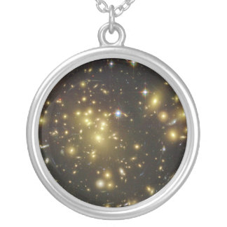 Galaxy Cluster Abell 1689 in Constellation Virgo Silver Plated Necklace
