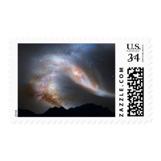 Galaxy Collision Andromeda Milky Way Space Stamp
