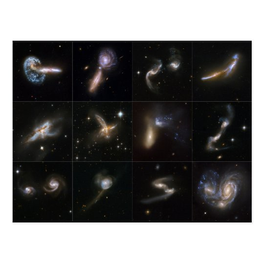 Galaxy collision images taken by the Hubble Postcard