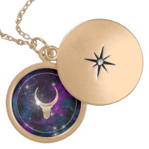 Galaxy cow bull with golden horns. Space design Gold Plated Necklace