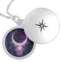 Galaxy cow bull with silver horns. Space design Locket Necklace