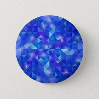 Galaxy crystal Blue polygonal facet pattern Pinback Button