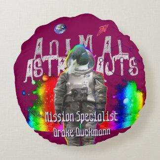 Galaxy Duck Astronaut Round Pillow