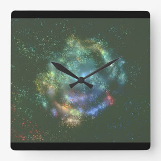 Galaxy. (galaxy;space;stars_Space Scenes Square Wall Clock