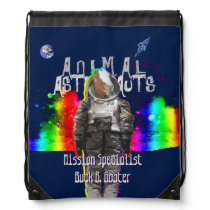 Galaxy Goat Animal Astronaut in Rainbow Universe Drawstring Bag