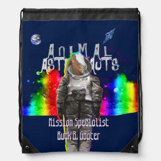 Galaxy Goat Animal Astronaut in Rainbow Universe Drawstring Bag