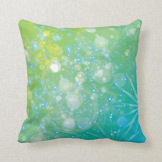 Galaxy Green Blue Bokeh Throw Pillow