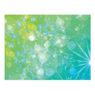 Galaxy Green Blue Bokeh Postcard