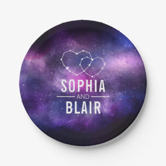 Galaxy Hearts Constellation Wedding Personalized Paper Plate
