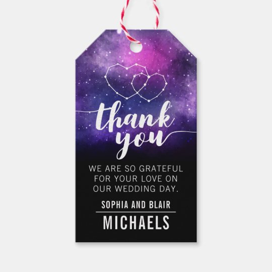Wedding Thank You Gift Tags: Galaxy Hearts Constellation Wedding Thank You Gift Tags