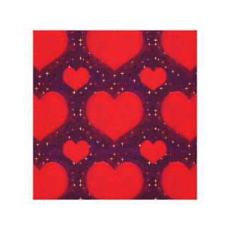 Galaxy Hearts Grunge Style Pattern Canvas Print