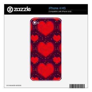 Galaxy Hearts Grunge Style Pattern iPhone 4S Skin