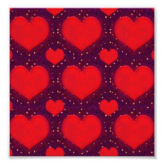Galaxy Hearts Grunge Style Pattern Photo Print