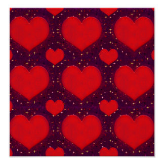 Galaxy Hearts Grunge Style Pattern Poster