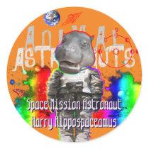 Galaxy Hippo Astronaut in Space Classic Round Sticker
