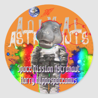Galaxy Hippo Astronaut in Space Classic Round Sticker