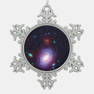 Galaxy HUDF-JD2 in Visible and Infrared Light Snowflake Pewter Christmas Ornament