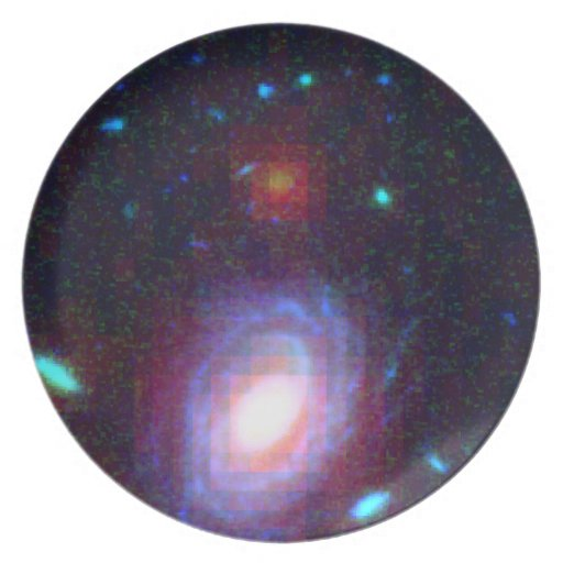 Galaxy HUDF-JD2 in Visible and Infrared Light Dinner Plates