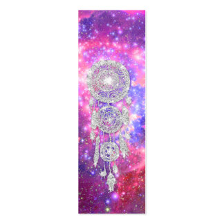 Galaxy Nebula Glitter dreamcatcher Pink Space Double-Sided Mini Business Cards (Pack Of 20)