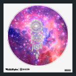 """Galaxy Nebula Glitter dreamcatcher Pink Space Wall Decal<br><div class=""""desc"""">Galaxy Nebula Glitter dreamcatcher Pink Space. a girly, cool and stylish glitter silver dream-catcher, Native American culture traditional vector design, with preppy feathers on a pink, purple and bright blue galaxy and nebula, with lots of stars and milky way. Take this cool, hipster and girly outer space photography of this...</div>"""