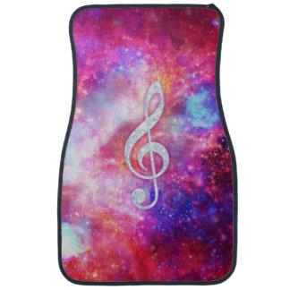 Galaxy Nebula Glitter Music Note Pink Space Car Mat