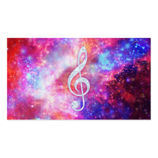 Galaxy Nebula Glitter Music Note Pink Space Double-Sided Standard Business Cards (Pack Of 100)