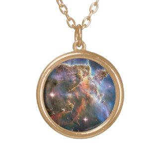 Galaxy Nebula Nebulae Supernova Star Explosion Gold Plated Necklace